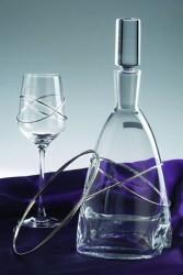 Κρυστάλλινο σετ καράφα, ποτήρι και στέφανα