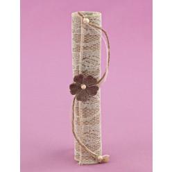 Μπομπονιέρα Γάμου Πάπυρος από Λινάτσα με Δαντέλα και Πλεκτό Λουλούδι