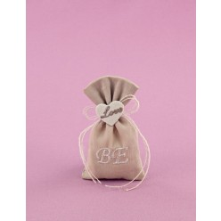 Μπομπονιέρα Γάμου Πουγκί Άμμου Μικρό με Κεντημένη Καρδούλα και Μονογράμματα
