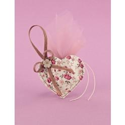 Φλοράλ Μπομπονιέρα Γάμου Κρεμαστή Καρδιά Μικρή