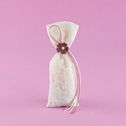 Πουγκί Εκρού Ταφτάς με Δαντέλα για Μπομπονιέρα Γάμου