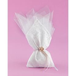 Λευκό Πουγκί με Δαντέλα και Μύτη στη Μέση για Μπομπονιέρα Γάμου