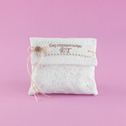 Φάκελος Λευκός Βαμβακερός με Δαντέλα για Μπομπονιέρα Γάμου
