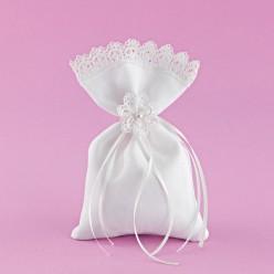 Πουγκί Λευκό με Λουλούδι Τρέσας για Μπομπονιέρα Γάμου
