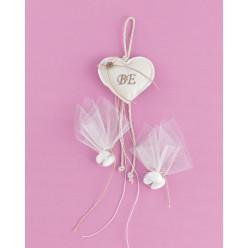 Εκρού Καρδιά Μαξιλαράκι από Λινό Ύφασμα για Μπομπονιέρα Γάμου