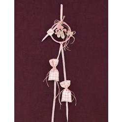 Μπομπονιέρα Βάπτισης Στεφανάκι Ροζ με Θέμα Παπουτσάκια Μπαλαρίνας Πλεκτά