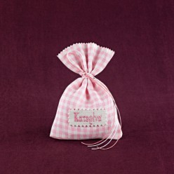 Μπομπονιέρα Βάπτισης Πουγκί Καρώ Ροζ με Όνομα