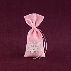 Μπομπονιέρα Βάπτισης Ροζ Πουγκί με Όνομα σε Φιογκάκι