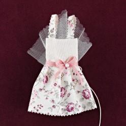 Φόρεμα Εκρού-Φλοράλ για Μπομπονιέρα Βάπτισης