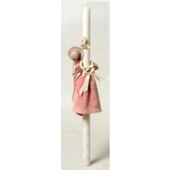 Λαμπάδα για βάπτιση με φορεματάκι πετσέτα