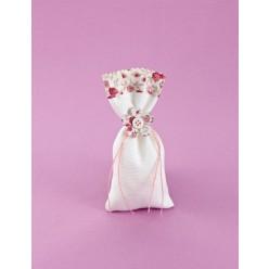 Μπομπονιέρα Γάμου Πουγκί Λευκό με Floral Στοιχεία