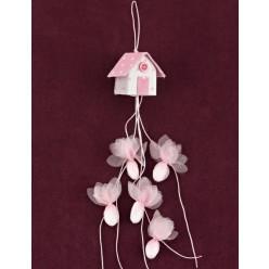 Μπομπονιέρα Βάπτισης Ροζ Σπιτάκι Μικρό Κρεμαστό