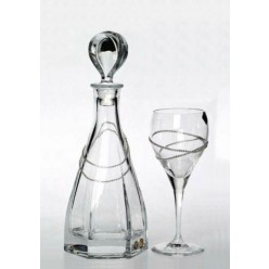 Σετ κουμπάρου με ποτήρι κρασιού και καράφα