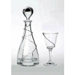 Σετ κρυστάλλινη στρογγυλή καράφα με ποτήρι κρασιού