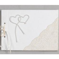 Βιβλίο ευχών για γάμο με δαντέλα και καρδιές