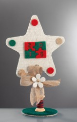 Επιτραπέζιο Διακοσμητικό για τα Χριστουγεννιάτικο με Λινάτσα
