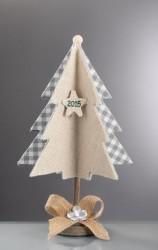 Επιτραπέζιο Χριστουγεννιάτικο Δεντράκι με Εκρού Λινάτσα