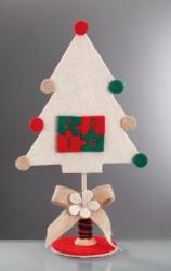 Χριστουγεννιάτικο Επιτραπέζιο Δεντράκι με Κέντημα σε πάζλ