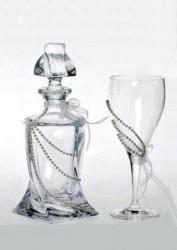 Κρυστάλλινο σετ κουμπάρου με ποτήρι και καράφα