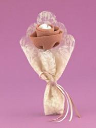 Μπομπονιέρα Γάμου Λουλούδι από Γάζα μέσα σε Μαντήλι Λέζα