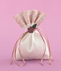 Μπομπονιέρα Γάμου Πουγκί Δίχρωμο Διακοσμημένο με Πλεκτό Λουλούδι
