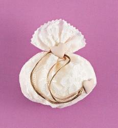Πουγκί Δαντέλα-Φόδρα Μικρό για Μπομπονιέρα Γάμου
