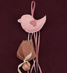 Υφασμάτινο Πουλάκι Μαξιλαράκι Ροζ για Μπομπονιέρα Βάπτισης