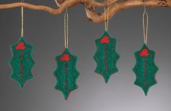 Χριστουγεννιάτικα Κρεμαστά Στολίδια γκι από Τσόχα
