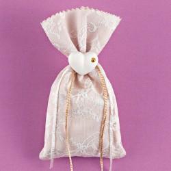 Πουγκί με Δαντέλα και Καρδιά με Χρυσό Στρας για Μπομπονιέρα Γάμου