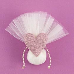 Τούλινη Μπομπονιέρα Γάμου με Ακρυλική Καρδιά Ανάγλυφη