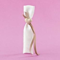 Πουγκί Μακρόστενο με Ακρυλική Καρδιά για Μπομπονιέρα Γάμου