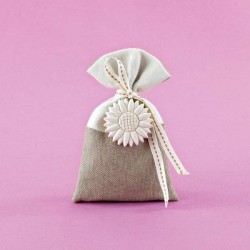 Μπομπονιέρα Γάμου Δίχρωμο Πουγκί με Ακρυλική Μαργαρίτα