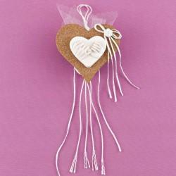 Καρδιά από Φελλό με Ακρυλική Ανάγλυφη Καρδιά για Μπομπονιέρα Γάμου