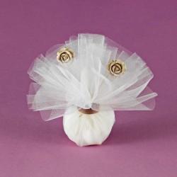Μπομπονιέρα Γάμου με Τούλι και Ακρυλικά Λουλουδάκια