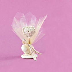 Επιτραπέζιο Διακοσμητικό με Ανάγλυφη Καρδιά για Μπομπονιέρα Γάμου