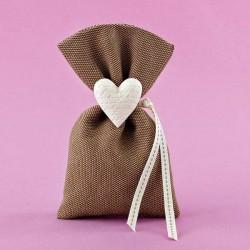 Πουγκί Πικέ με Ακρυλική Καρδιά για Μπομπονιέρα Γάμου