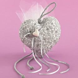 Μπομπονιέρα Γάμου Κρεμαστή Φουσκωτή Καρδιά με Ακρυλικές Καρδιές