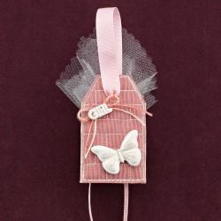Κρεμαστή Ετικέτα Σάπιο Μήλο με Διακόσμηση Πεταλούδα για Μπομπονιέρα Βάπτισης