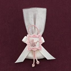 Βαπτιστική Μπομπονιέρα Τούλινη με Ροζ Ακρυλική Κορνίζα και Καροτσάκι