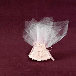 Μπομπονιέρα Βάπτισης Επιτραπέζιο Διακοσμητικό Ροζ Φορεματάκι