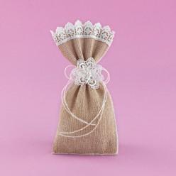 Μπομπονιέρα Γάμου Πουγκί Λινάτσας με Διακόσμηση Ιβουάρ Δαντέλα
