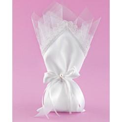 Μπομπονιέρα Γάμου Πουγκί Λευκό με Μύτη στη Μέση