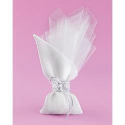 Πουγκί Λευκό Μύτη Πλάι για Μπομπονιέρα Γάμου