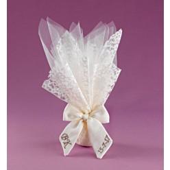 Τούλι με Δαντέλα και Κέντημα σε Κορδέλα για Μπομπονιέρα Γάμου