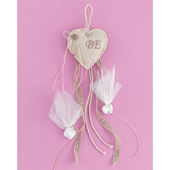 Καρδιά Μαξιλαράκι από Λινό Ύφασμα για Μπομπονιέρα Γάμου