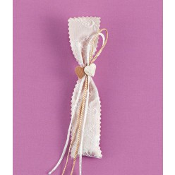 Πουγκάκι Ζικ Ζακ για Μπομπονιέρα Γάμου με Διακόσμηση σε Εκρού-Χρυσό
