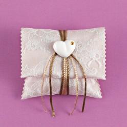 Μπομπονιέρα Γάμου Φακελάκι Άμμου με Δαντέλα και Ακρυλική Καρδιά