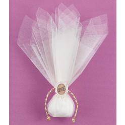 Τούλινη Μπομπονιέρα Γάμου με Ακρυλική Κορνίζα και Μονογράμματα