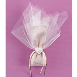Κορδέλα με Δαντέλα και Διακοσμητική Καρδιά για Μπομπονιέρα Γάμου