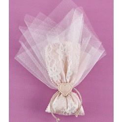 Μπομπονιέρα Γάμου Τούλι-Κορδέλα με Δαντέλα και Καρδιά Ακρυλική